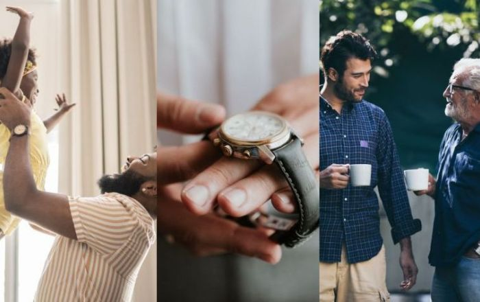 """4 combined images for father's day of a father holding daughter, a hand with a watch and a father and son having a hot drink"""