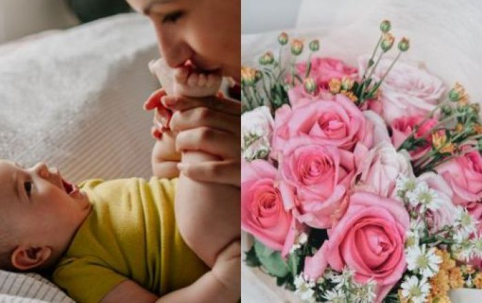 2 images including a mother kissing her babies feet and a bouquet of flowers