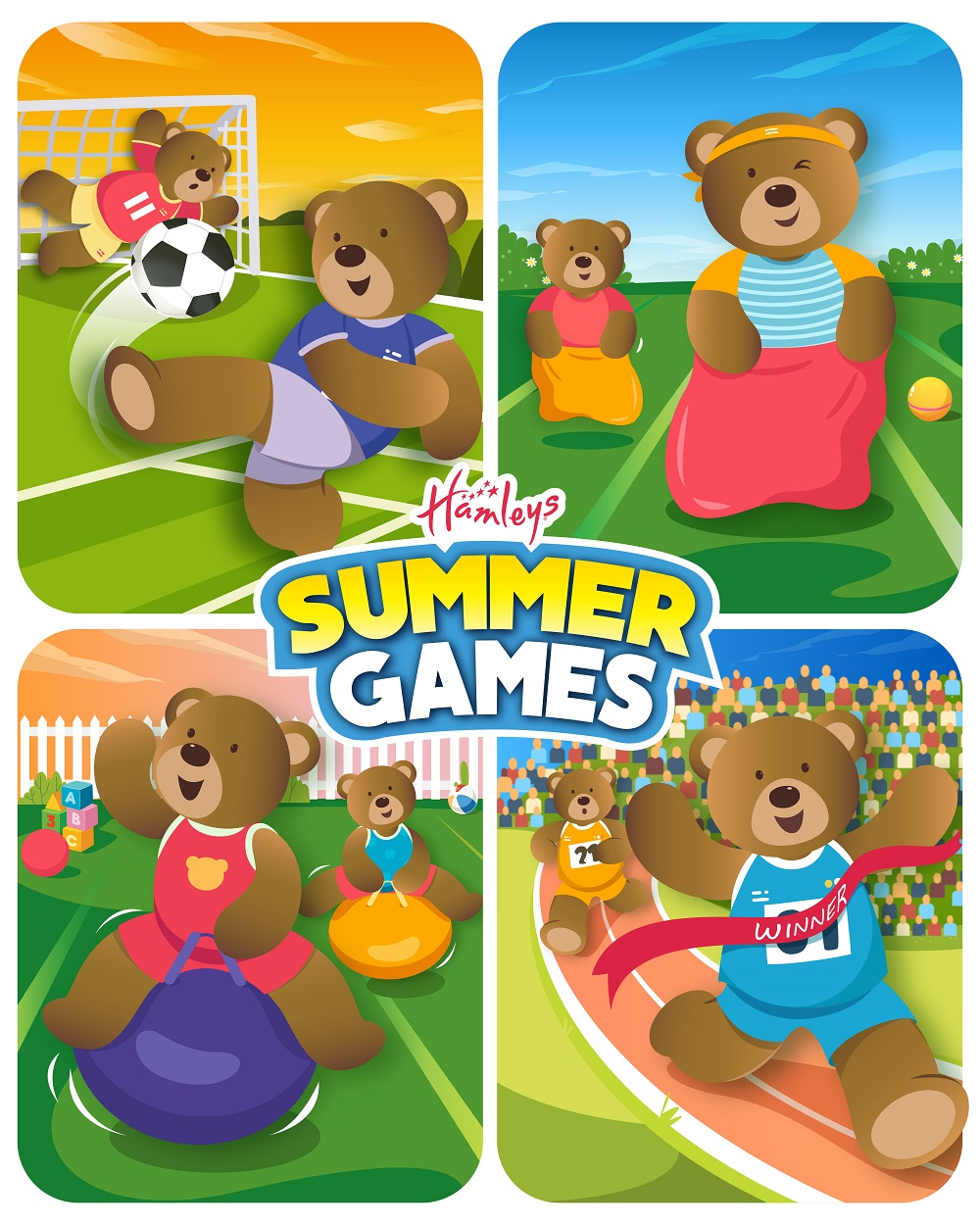 an illustration of teddy bears playing different sports and the text 'Hamley's Summer Games'.