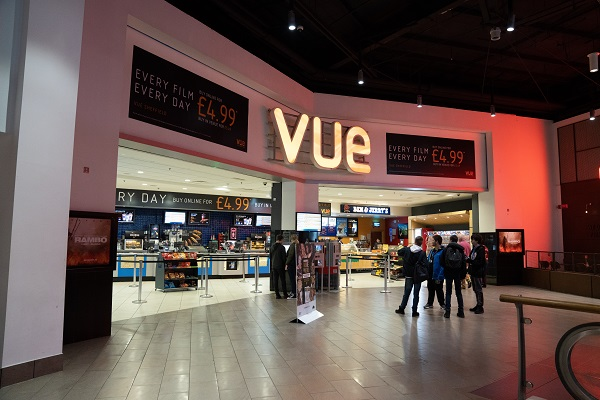 The entrance to Vue Cinema in Meadowhall.