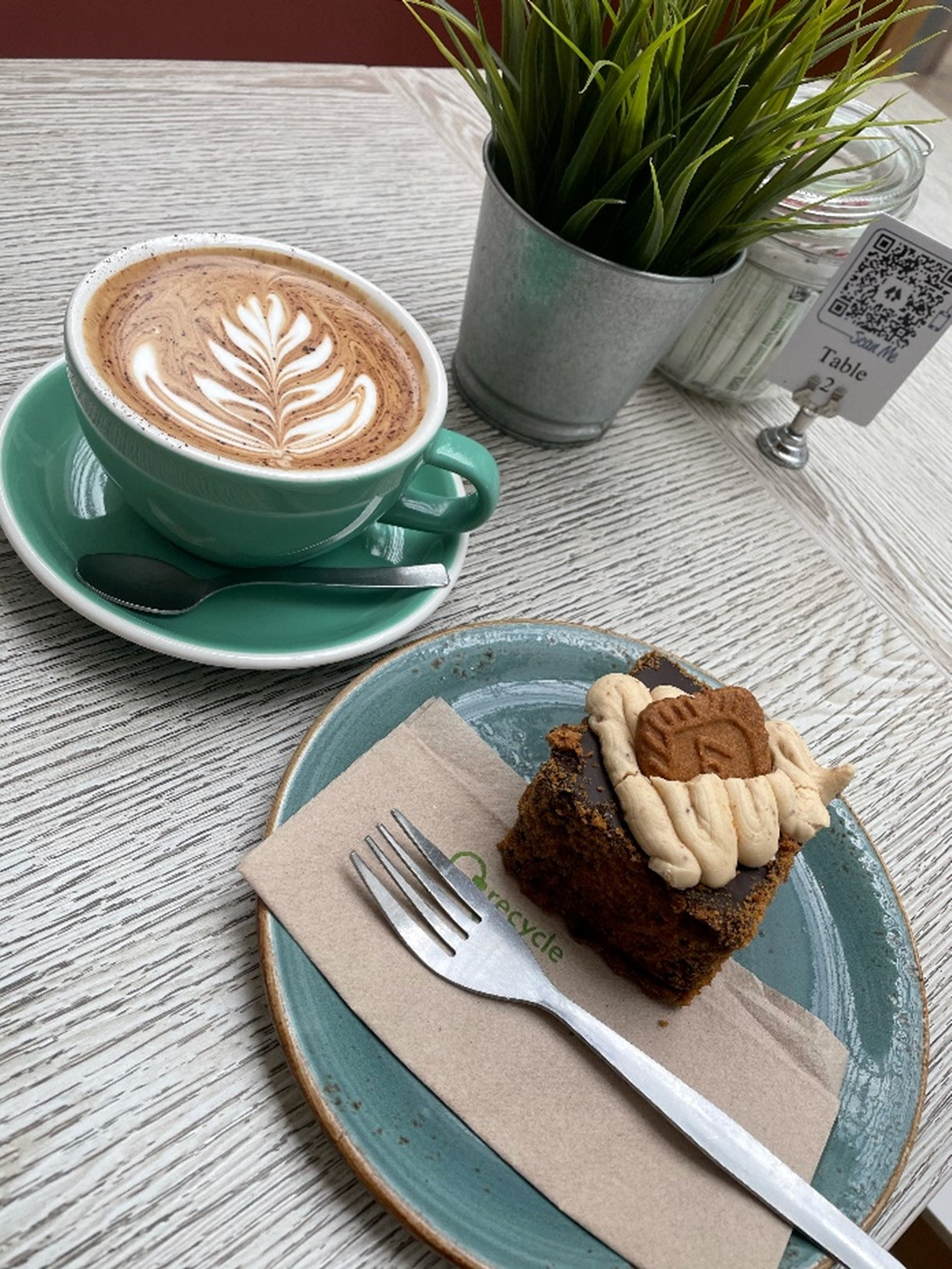 A coffee and cake from Coffika