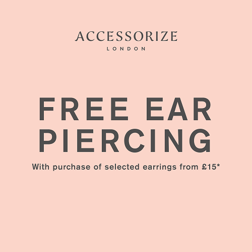 A square that says 'free ear piercing with the purchase of selected earrings from £15.'