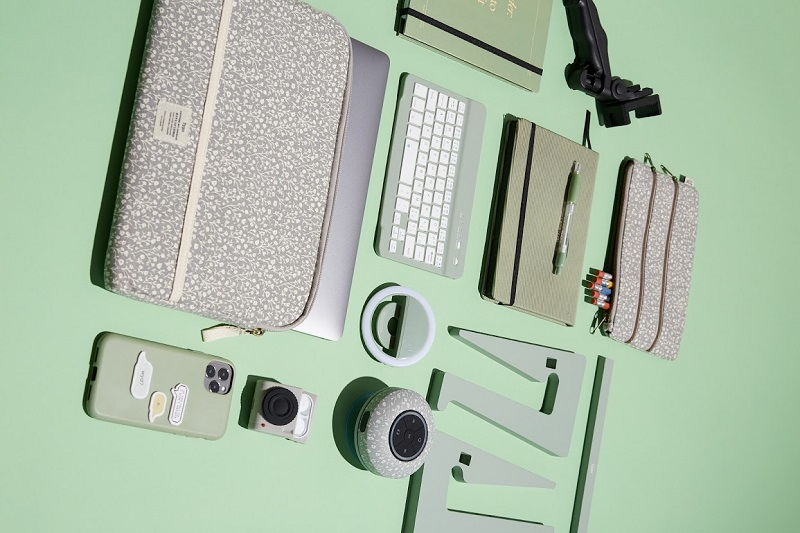 A table of office accessories such as a laptop bag from Typo