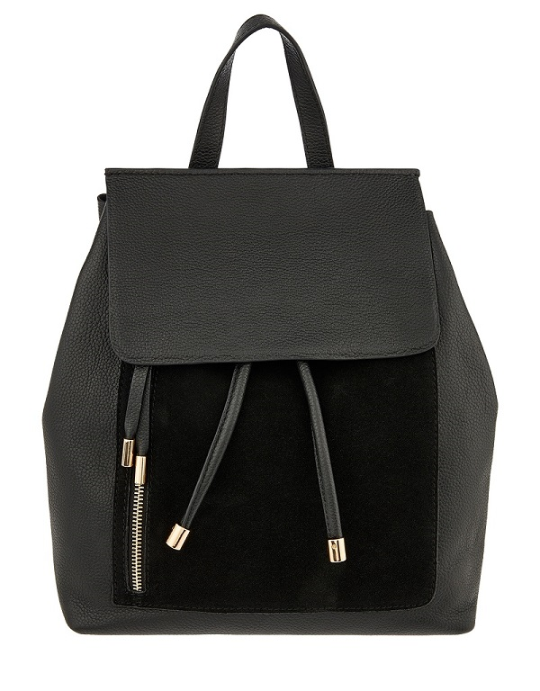A black back pack from Accessorize
