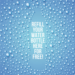 an illustration of a bottle with text on saying 'Refill your water bottle here for free'.