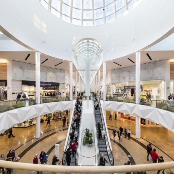 Meadowhall's main dome area in the centre of the mall.