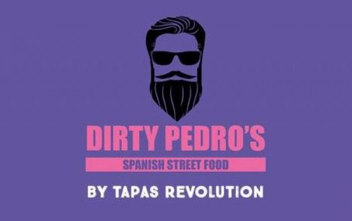dirty pedro's logo on a purple background
