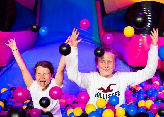 Two girls playing at Airhaus