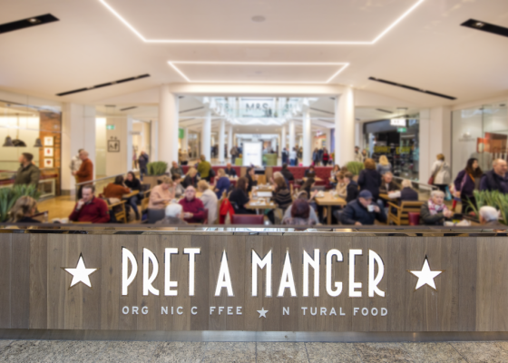 Pret a Manger Cafe in Meadowhall Shopping Centre.