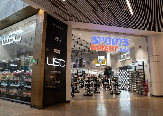 Sports Direct store front in Meadowhall shopping centre.