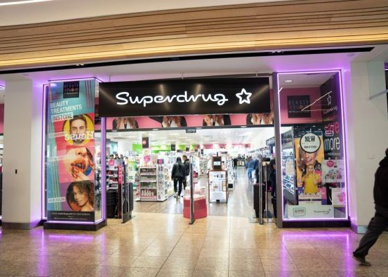 Superdrug Store Front in Meadowhall Shopping Centre.