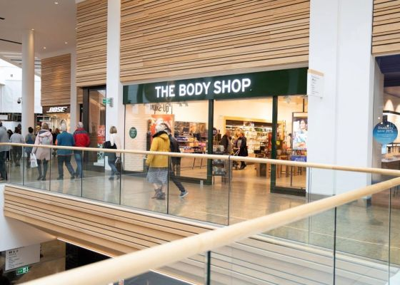 The Body Shop store front in Meadowhall.
