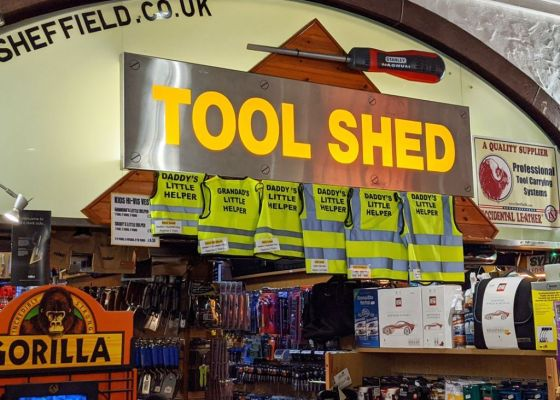 The Tool Shed store sign.
