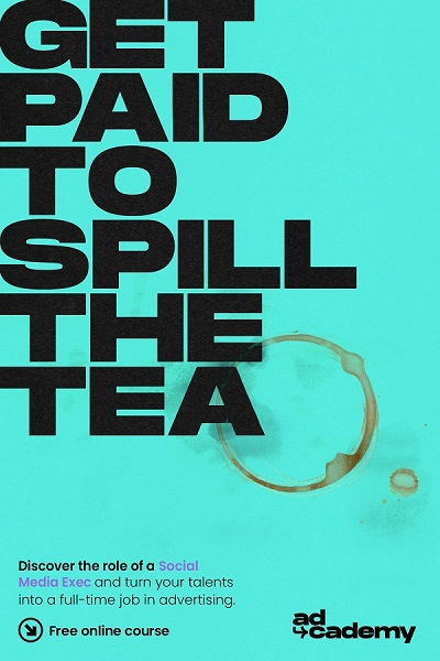 A blue poster image with the text 'Get paid to spill the tea' in bold black.