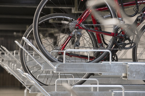 Close up of bike storage with bike wheels.