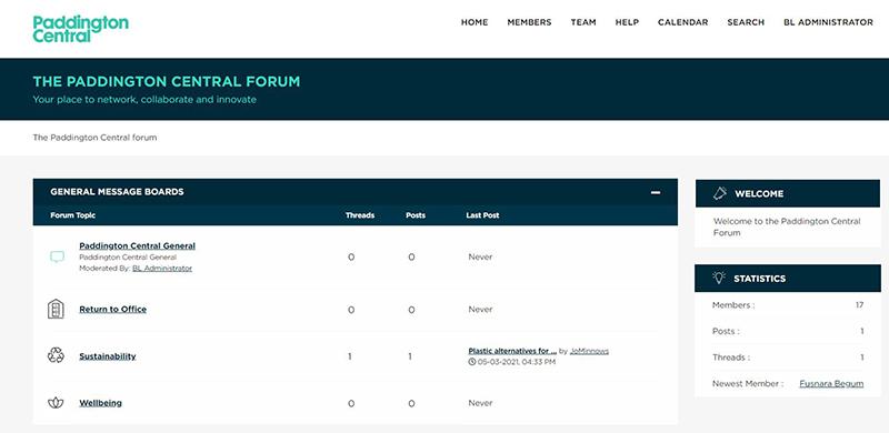 Screenshot of Paddington Central forum website