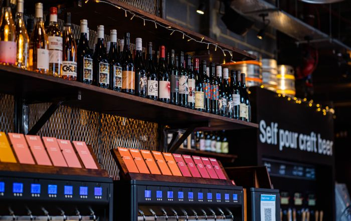 Wines on a shelf at Vagabond
