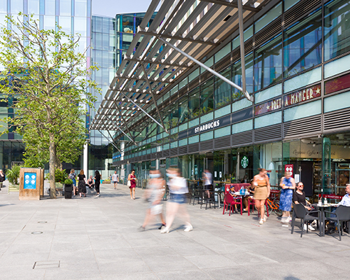 store front image of pret and starbucks at regent's place