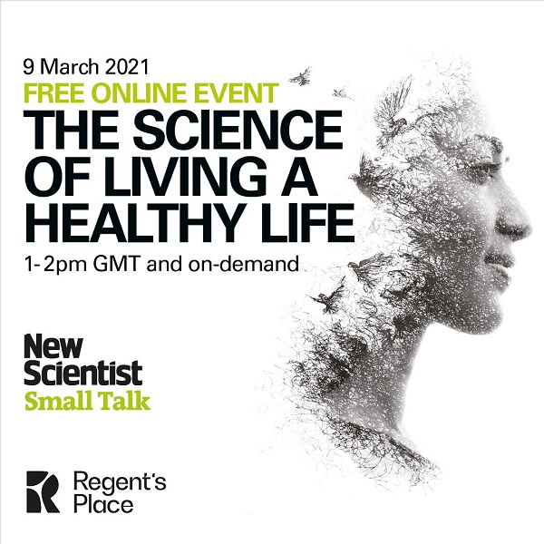 An illustration of a head with the text 'Free online event, The Science of Living a Healthy Mind, 1-2pm GMT and on-demand, New Scientist Small Talk'.