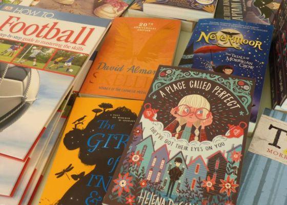 A close up of children's books.