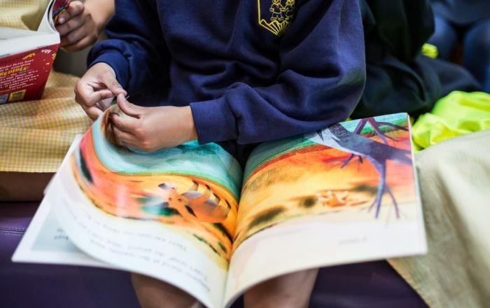 Child flicking through a book