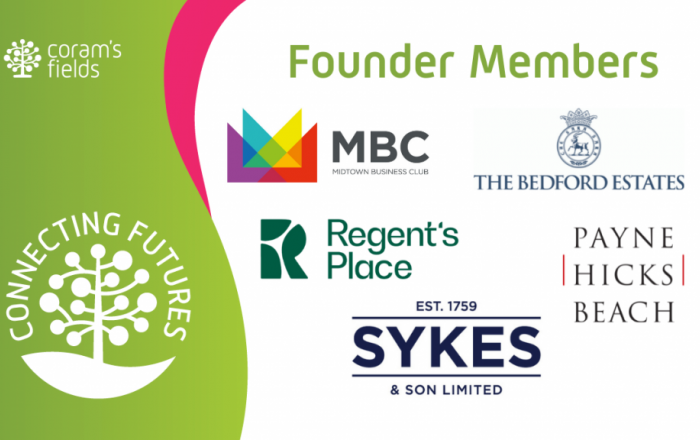 Connecting futures logo on green and Coram's fields founder member logos