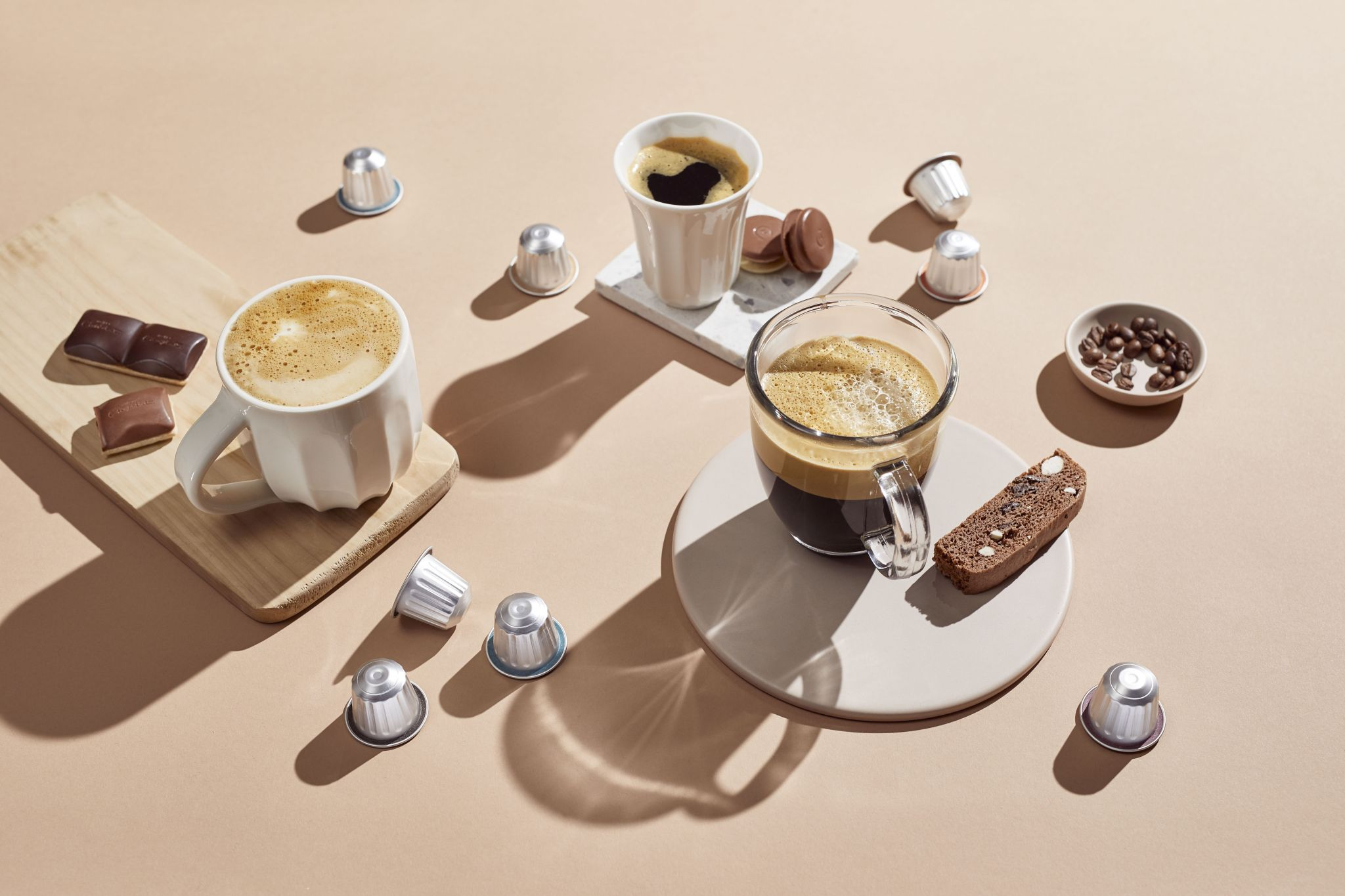 coffee and chocolates flat lay image from Hotel Chocolat