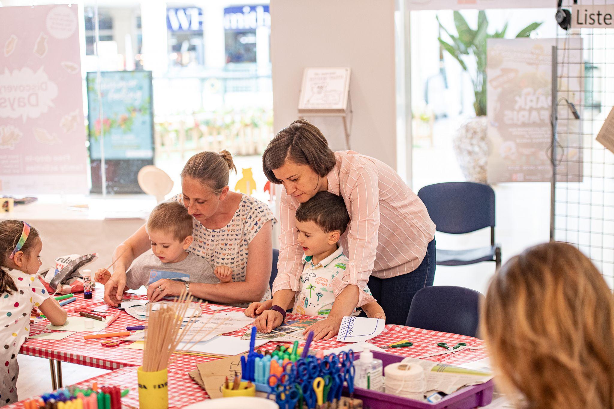 children taking part in a art class workshop