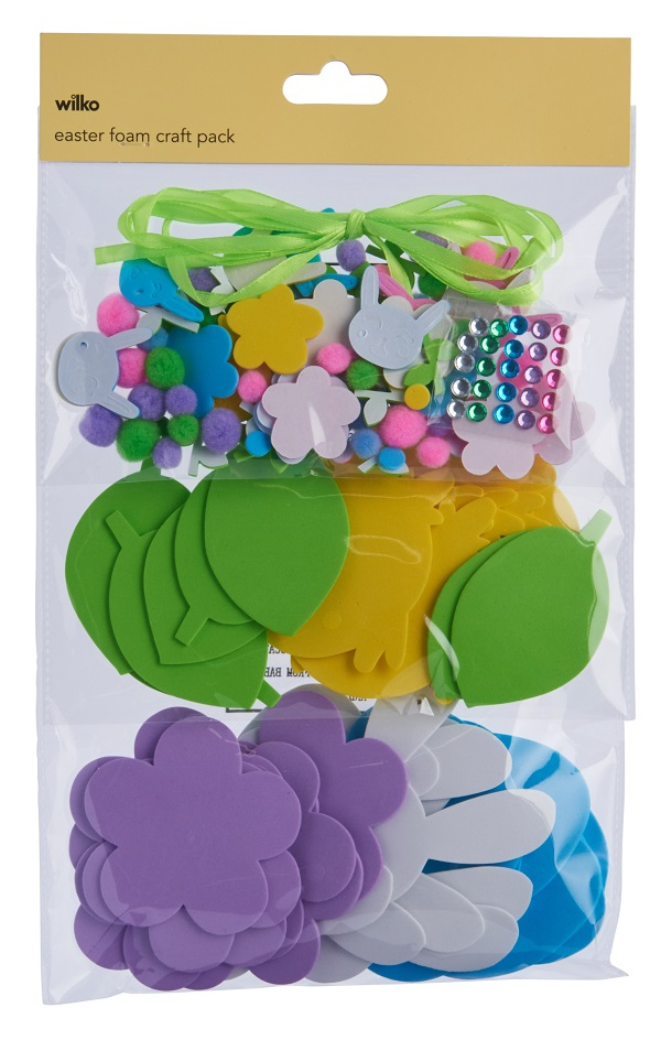 Easter foam toy craft pack with colourful easter cut outs in packaging which says wilko.
