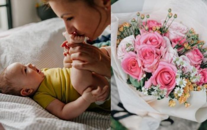 four images of mothers and children of different ages and a bouquet of flowers.