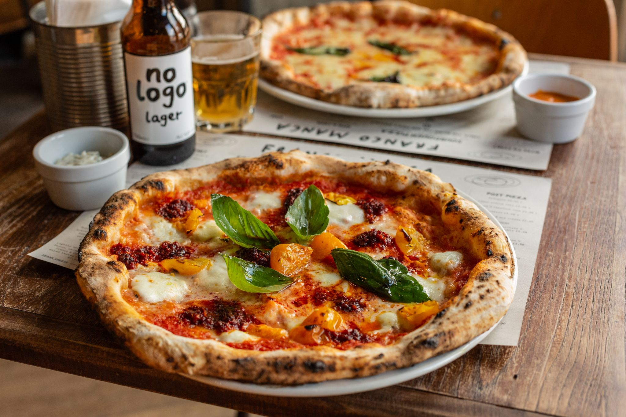 pizza and beer from franco manca