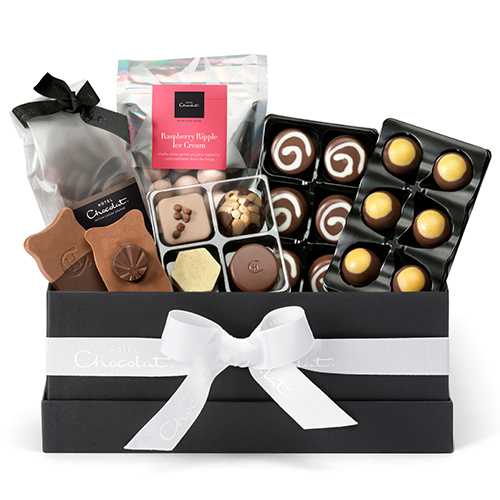 A box hamper filled with various chocolates from Hotel Chocolat