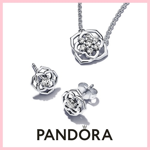 a silver necklace and pair of earrings set from Pandora