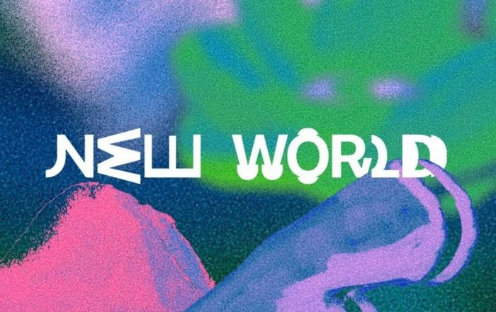 A colourful back drop with text saying New World.
