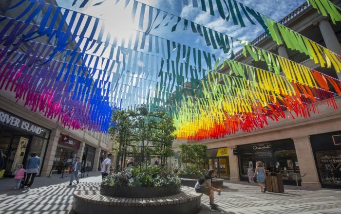 SouthGate's rainbow bunting installation