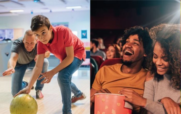 2 images including father and son bowling and couple laughing at the cinema.
