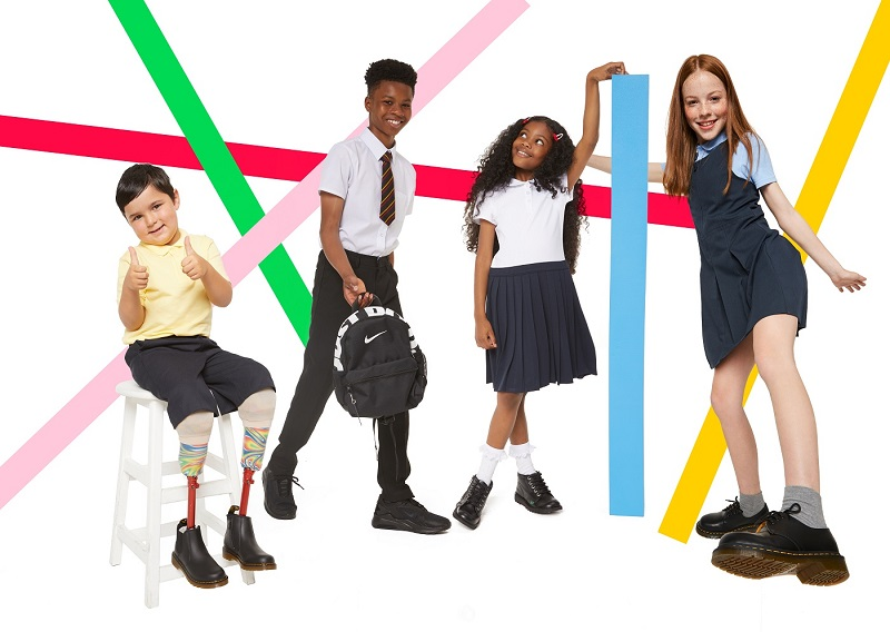 A group of school children wearing Schuh shoes.