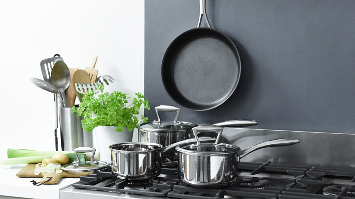 Pots and pans on a stove.