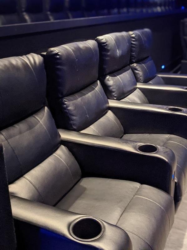 A row of cinema seats.