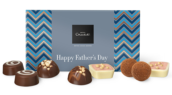 Box of chocolates from Hotel Chocolat with Happy Father's Day written on the box in white