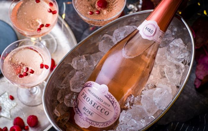 Marks & Spencer's Rosé Prosecco in a bucket of ice