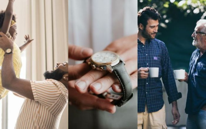 4 combined images for father's day of a father holding daughter, a hand with a watch and a father and son having a hot drink