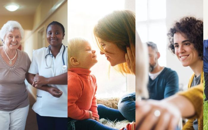 Four images in a banner. An older lady with a nurse, an infant with a woman, a woman with her hand on another's shoulder and two children.