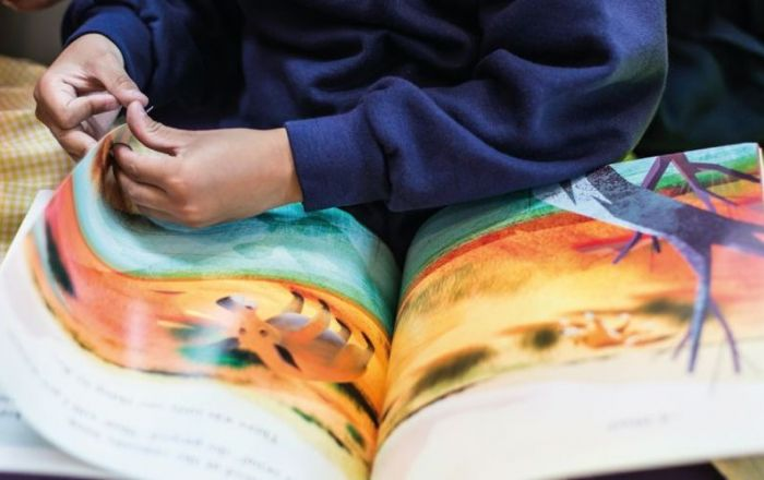 A close up of a child reading a book