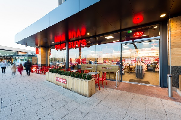 Exterior of Five Guys at Whiteley.