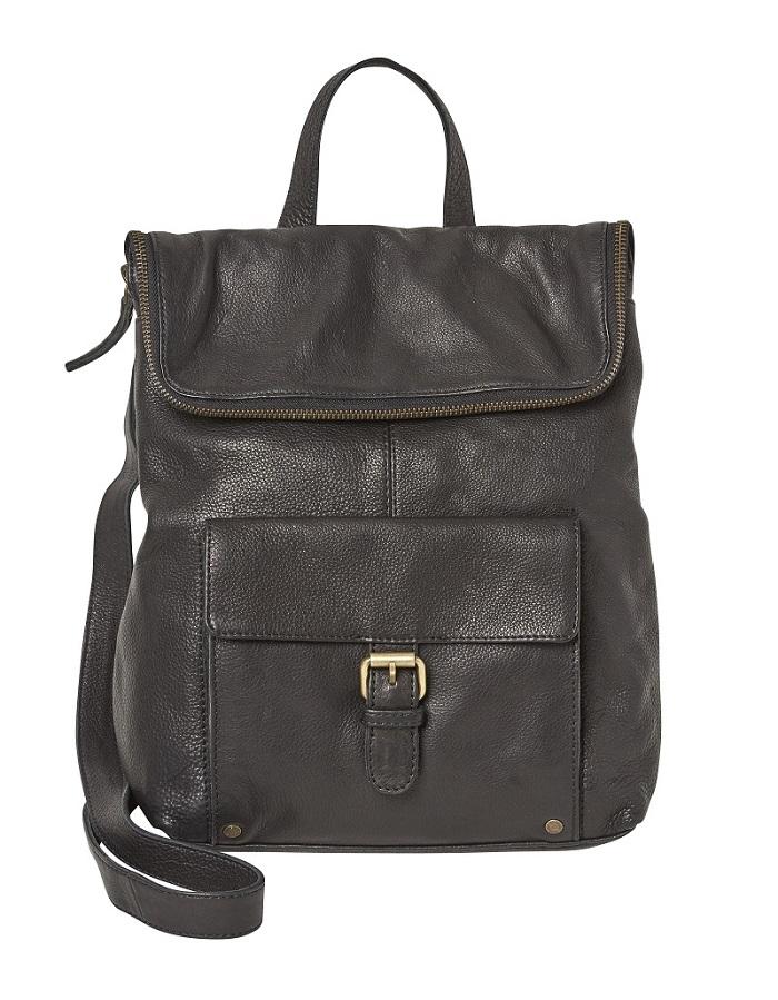 A black leather back pack.