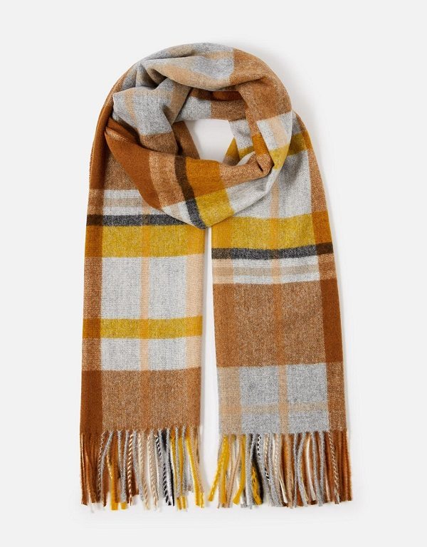 Yellow, brown and grey checked scarf.