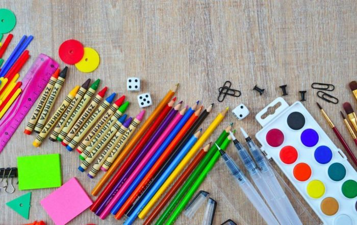 Colourful pens, paint, crayons and stationary