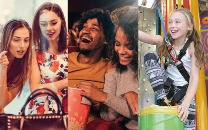 4 images, one of a girl climbing at Rock Up, a couple eating popcorn at the cinema, two girls shopping